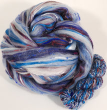 Blue Willow Teacup - Custom Blended Top - Superfine Merino/Mulberry Silk Bamboo/Sari Silk/Tweed Blend (40/25/15/10/10)
