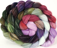 Hand dyed top for spinning -Cabbages & Kings (5.4 oz.) Targhee/silk/ bamboo ( 80/10/10) - Inglenook Fibers