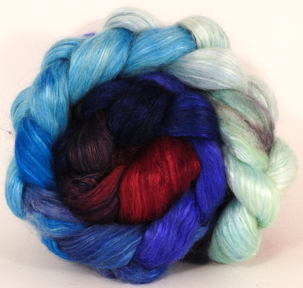 Hand-dyed wensleydale/ mulberry silk roving ( 65/35) -The Caterpillar- ( 5.35 oz.) - Inglenook Fibers
