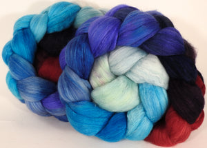 Batt in a Braid #25- The Caterpillar- (5 oz)- De-haired Llama/ Polwarth/ Mulberry Silk (33/33/33 ) - Inglenook Fibers