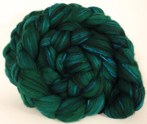 Hand dyed top for spinning - Shamrock-  18.5 mic merino/ camel/ brown alpaca/ mulberry silk/ (40/20/20/20) - Inglenook Fibers