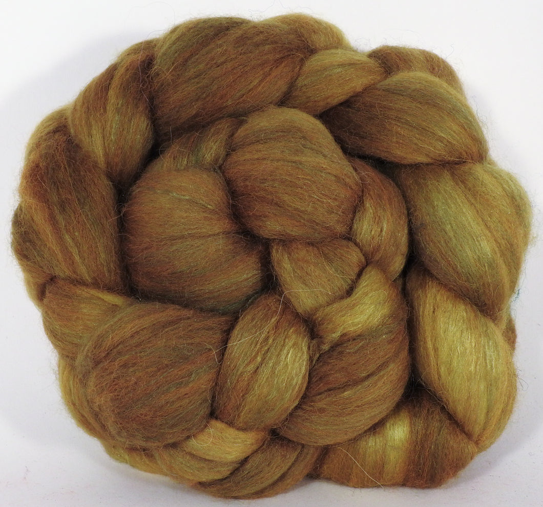 Batt in a Braid #25- Old Gold - 5.3 oz.- De-haired Llama/ Polwarth/ Mulberry Silk (33/33/33 ) - Inglenook Fibers