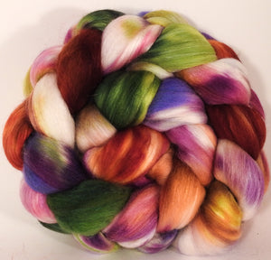 Batt in a Braid #25- Talking Flowers - 6 oz.- De-haired Llama/ Polwarth/ Mulberry Silk (33/33/33 ) - Inglenook Fibers