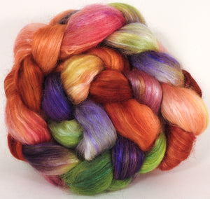 Hand-dyed wensleydale/ mulberry silk roving ( 65/35) -Talking Flowers - Inglenook Fibers