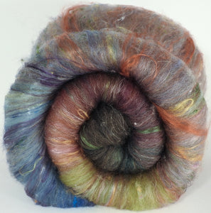 The Mock Turtle - Roly Poly batts - (3.5 oz) Coopworth/Romney, merino, silk, rambouillet, bamboo, silk noil, FLAX