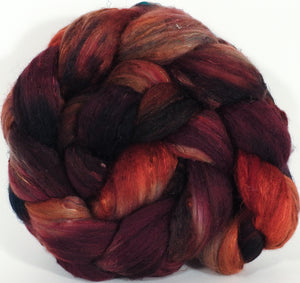 Batt in a Braid #39- SARI-#1 -(4.5 oz.) Falkland Merino/ Mulberry Silk / Sari Silk (50/25/25)