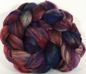Batt in a Braid #39- SARI-#35 -(4.6 oz.) Falkland Merino/ Mulberry Silk / Sari Silk (50/25/25)