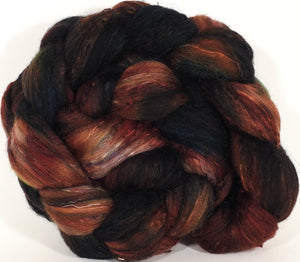 Batt in a Braid #39- SARI-#5 dark -(4.6 oz.) Falkland Merino/ Mulberry Silk / Sari Silk (50/25/25) - Inglenook Fibers