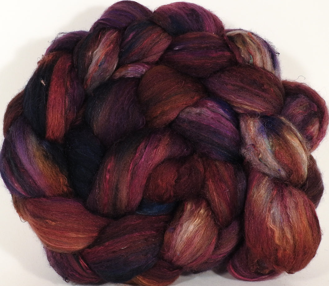 Batt in a Braid #39- SARI-#33 -(4.7 oz.) Falkland Merino/ Mulberry Silk / Sari Silk (50/25/25)