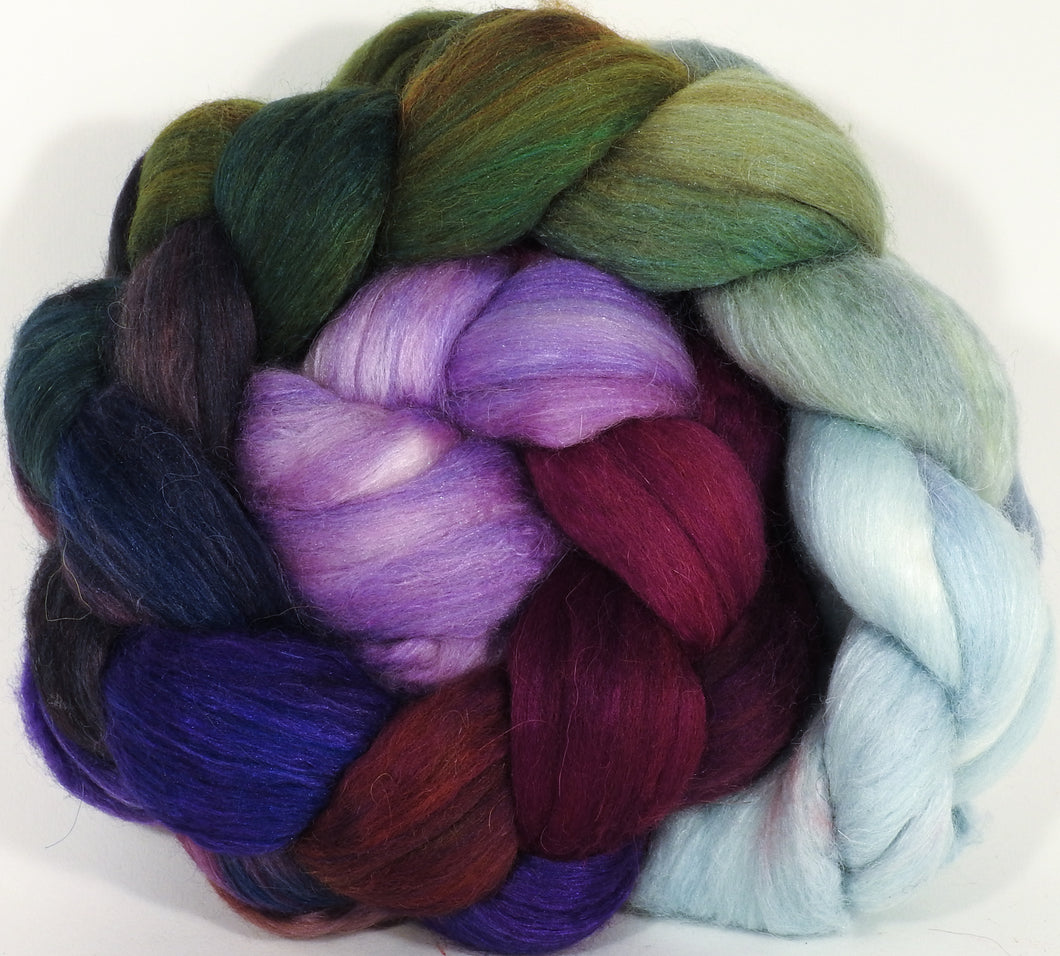 Batt in a Braid #25- Cabbages & Kings (5 oz.) - De-haired Llama/ Polwarth/ Mulberry Silk (33/33/33 ) - Inglenook Fibers