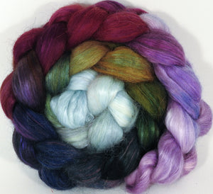 Hand-dyed wensleydale/ mulberry silk roving ( 65/35) - Cabbages & Kings -  (6.3 oz.) - Inglenook Fibers