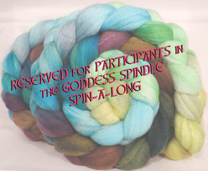 Hand dyed top for spinning -Dryad - (5.2 oz.) Organic polwarth /Tussah silk (80/20)