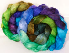Hand-dyed wensleydale/ mulberry silk roving ( 65/35) -Water Pixie- ( 4.8 oz.) - Inglenook Fibers