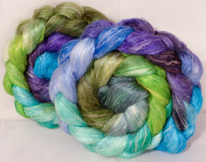Hand dyed Tussah Silk / flax roving -Water Pixie -  ( 65/35)-  (4.8 oz.)