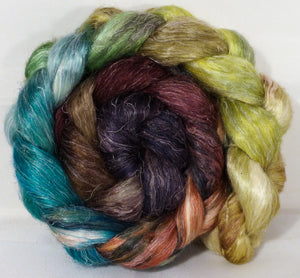 Hand dyed Tussah Silk / flax roving -Toadstools-  ( 65/35)-  (4.6 oz.)