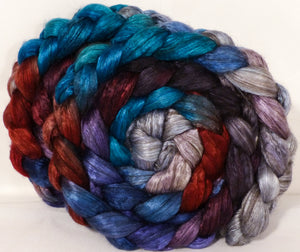 Hand dyed yak/ mulberry silk top -Stellar's Jay - (4 oz.) yak /silk ( 50/50) - Inglenook Fibers
