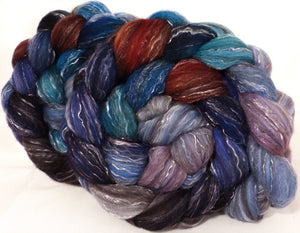 Batt in a Braid #2 -Stellar's Jay -(5.1 oz.)Polwarth/ Manx / Black tussah silk/ tencel (40/20/20/20) - Inglenook Fibers