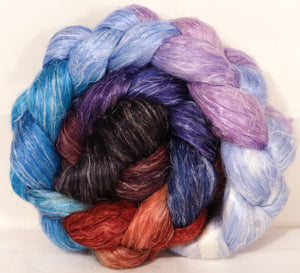 Hand dyed Tussah Silk / flax roving -Stellar's Jay-  ( 65/35)-  (4.5 oz.)