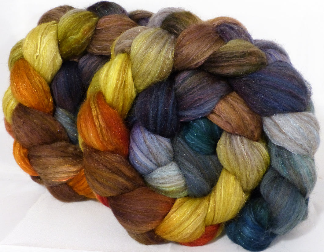 Batt in a Braid #7 -Golden Chain Tree-(5 oz.)Polwarth/ Manx / Mulberry silk/ Firestar (30/30/30/10)