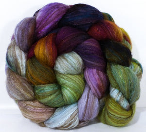 Batt in a Braid #7 -Milkweed -(4.9 oz.)Polwarth/ Manx / Mulberry silk/ Firestar (30/30/30/10) - Inglenook Fibers