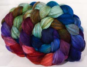Batt in a Braid #7 -Jazzberry-(6.1 oz.)Polwarth/ Manx / Mulberry silk/ Firestar (30/30/30/10)