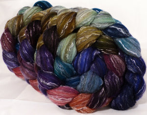 Batt in a Braid #2 -Jazzberry -(5.2 oz.)Polwarth/ Manx / Black tussah silk/ tencel (40/20/20/20)