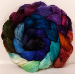 Hand-dyed wensleydale/ mulberry silk roving ( 65/35) -Jazzberry- ( 5 oz.) - Inglenook Fibers