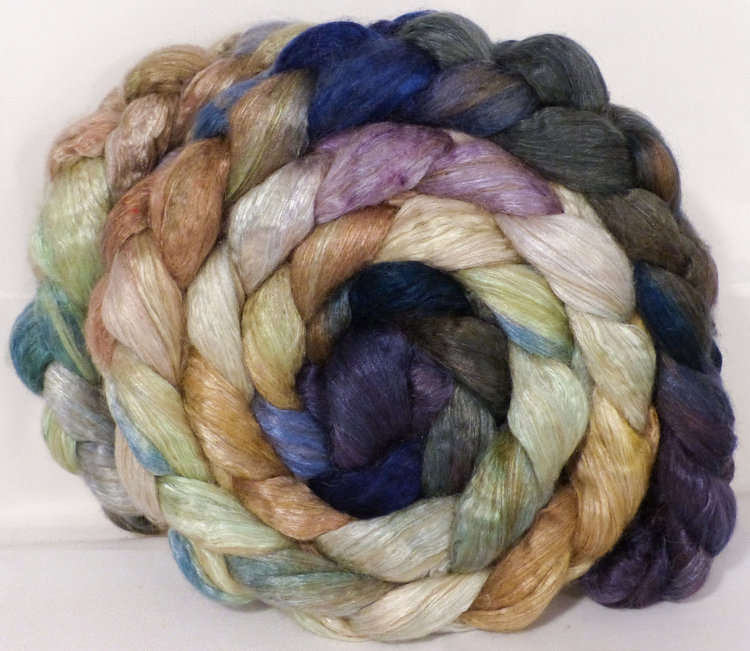 Hand dyed baby camel/ tussah silk top -Downpour - (4.1 oz.) baby camel /silk ( 50/50) - Inglenook Fibers