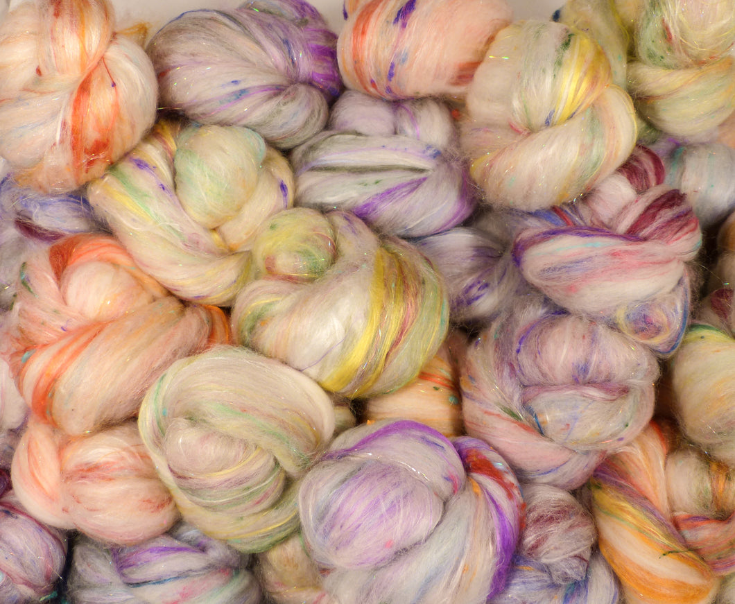 Flowerfetti Tea Cakes - Sticklebatts- ( 3.9 oz.)  - 30% Bond fleece, merino, rambouillet, alpaca, silk, bamboo, silk noil, angelina - Inglenook Fibers