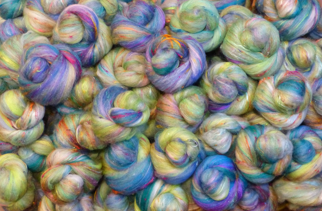 Waterlilies-Light  - Sticklebatts - 30% CVM/Rambouillet/Finn/Cotswold x fleece; merino, rambouillet, silk, bamboo, sari silk, silk noil, (angelina in sparkle batts) - Inglenook Fibers