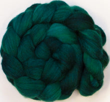 Batt in a Braid #27 - Malachite (5.5 oz) - Lt. Grey Shetland/ Falkland Merino / tussah silk (50/25/25) - Inglenook Fibers