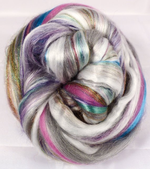 Abalone- Custom Blended Top- Pearl Fiber/ Merino/ Silk / Rainbow Trilobal Firestar (25/25/40/10) - Inglenook Fibers