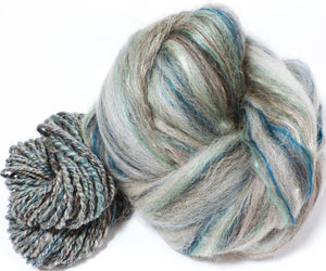 Nickel  -( 4 oz.)  Custom blended top - Bfl / Shetland/ Mulberry Silk/ Flax ( 35/25/25/15) - Inglenook Fibers