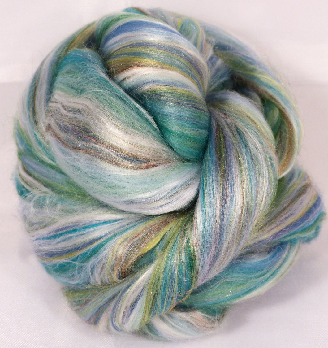 Sea Glass - Custom blended top - Seacell/  Merino / Silk / Rainbow Firestar ( 25/25/35/15 )
