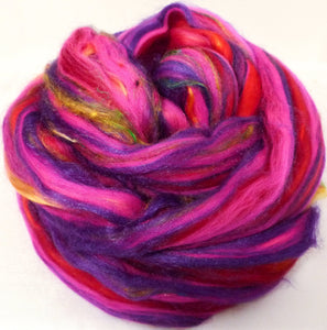 So Sari Blend -Hibiscus-  Merino/ Sari Silk / Silk (50/25/25 )  (2 oz. ) - Inglenook Fibers