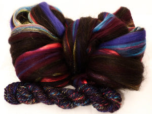 Cephalopod- Custom Blend Top- Merino/  Silk / Black Baby Alpaca / Rainbow Trilobal Firestar (50/25/15/10)