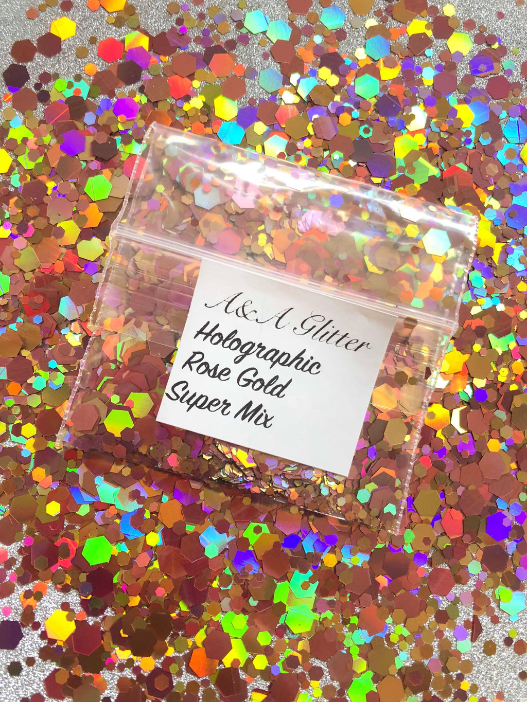 Holographic Rose Gold Super Mix - A&A Glitter