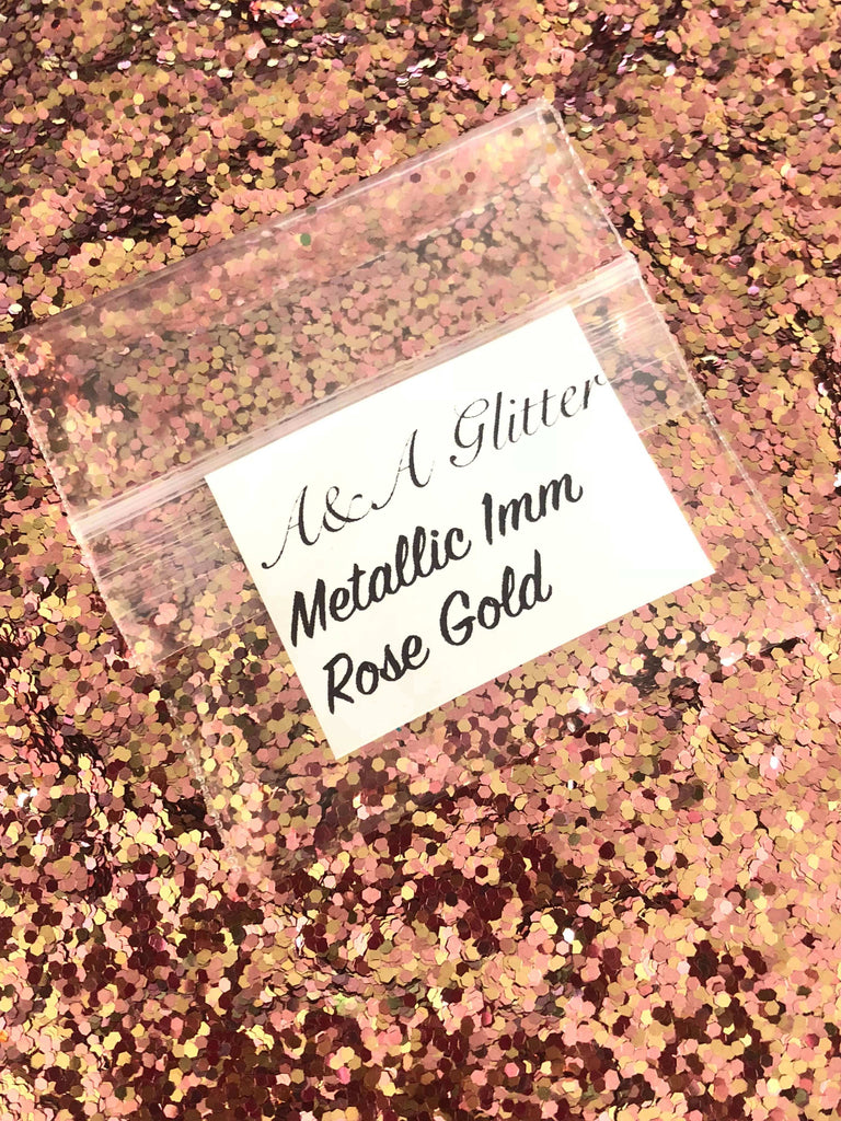 Metallic Rose Gold 1mm - A&A Glitter