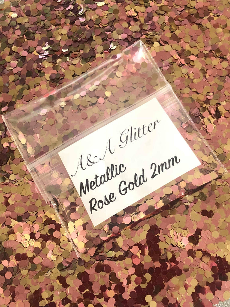 Metallic Rose Gold 2mm - A&A Glitter