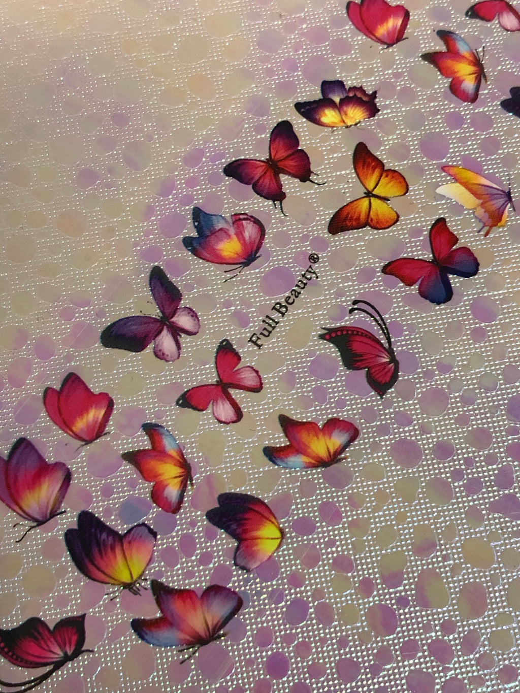 Rainbow Pink Butterfly Foils