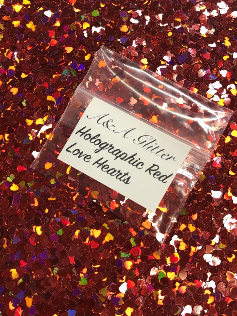 Holographic Red Love Hearts