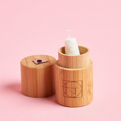 Dental Floss in Bamboo Container