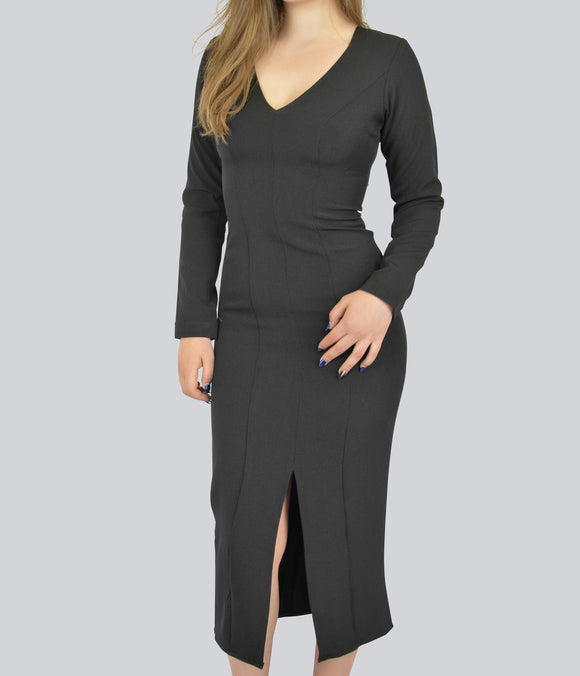 7b2f652446f Fitted Professional Black Dress with Front Slit By Smart Marché