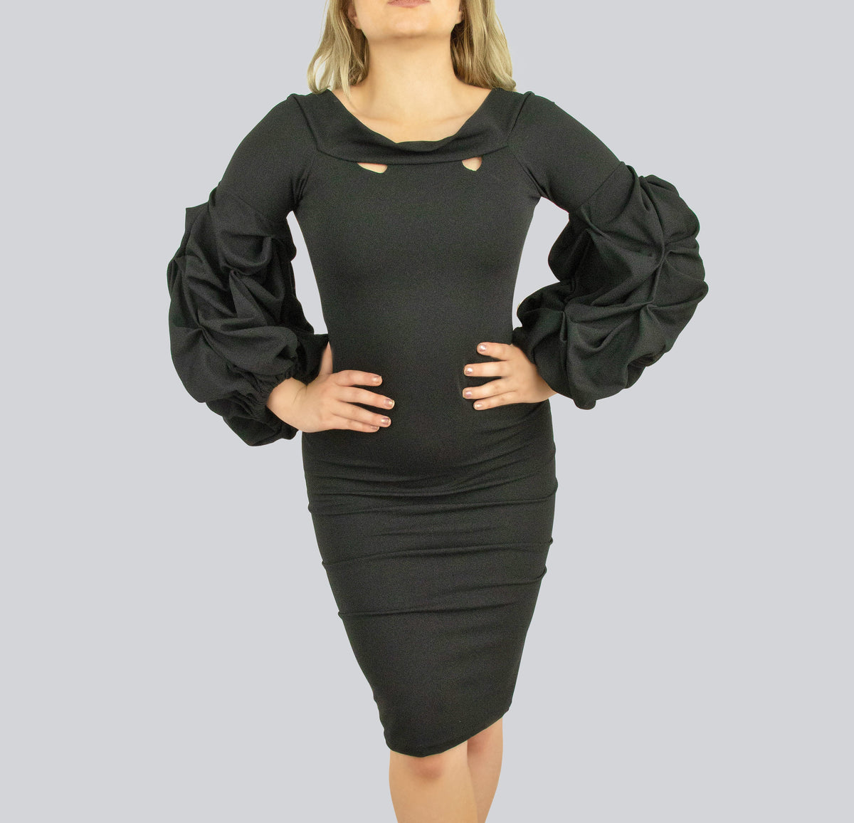 fa97eb29a22 Black dress with Puff exaggerated sleeves by Smart Marché – Gear and thread