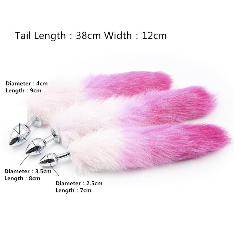 Purple and Pink Fox Tail Anal Plug, 3 Sizes - Own Pleasures