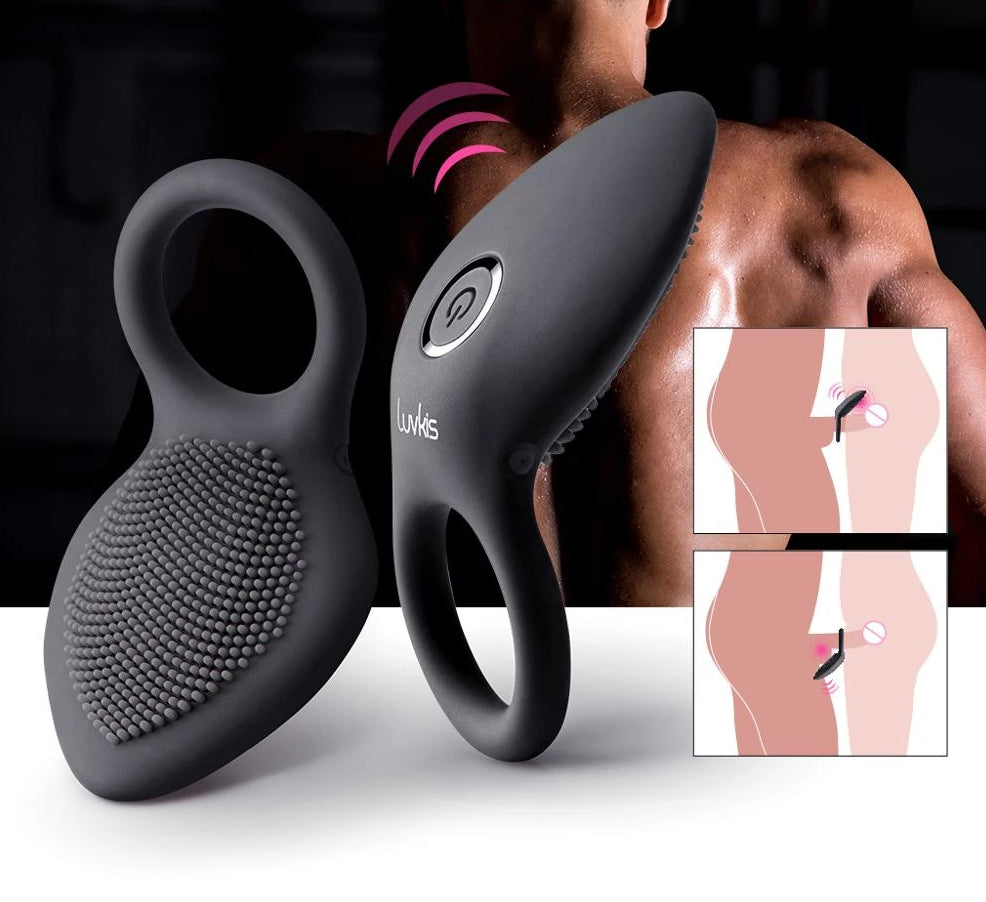 PREMIUM Time Delay Vibrating Cock Ring with Massager Brush