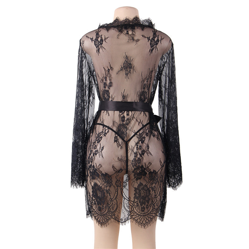 Up to 5XL Lace Kimono Dressing_Gown_Robes - Own Pleasures