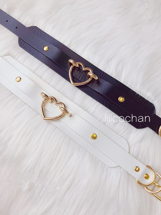 Double Layered Leather Handmade Heart Collar - Own Pleasures