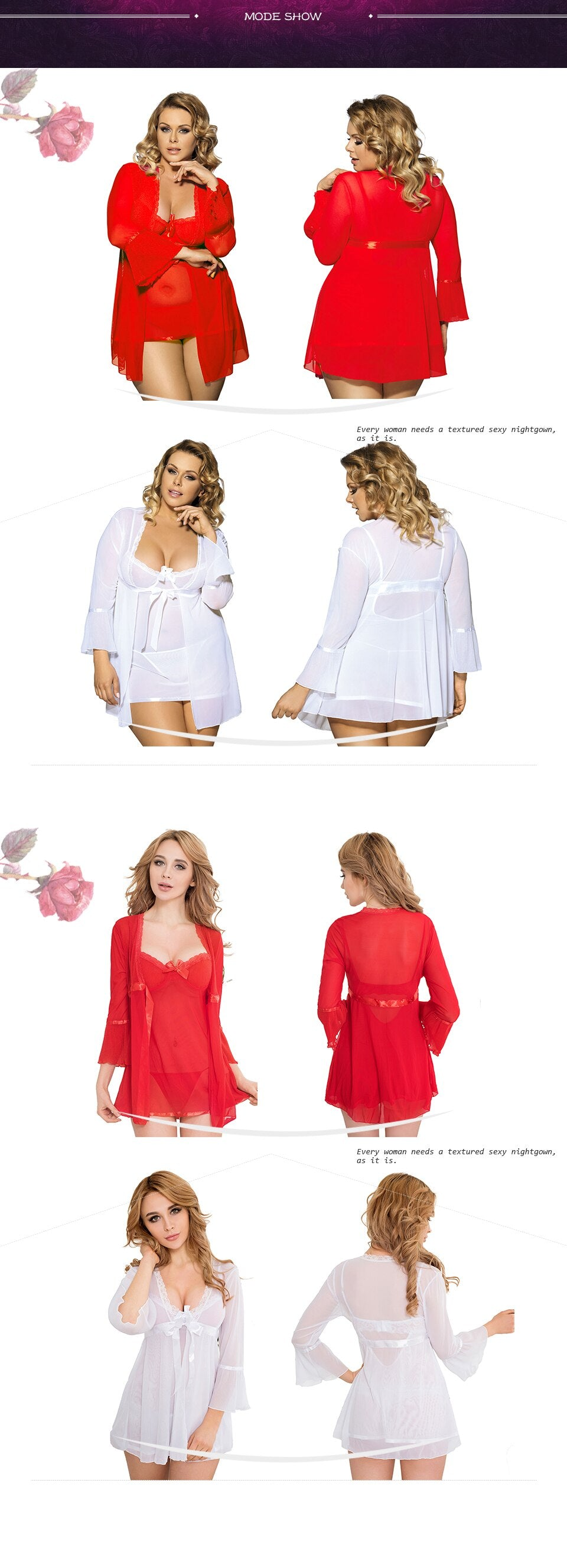 Up to XXXL Sexy Lingerie Divine Soft Nightgown Top +G string+Coat - Own Pleasures
