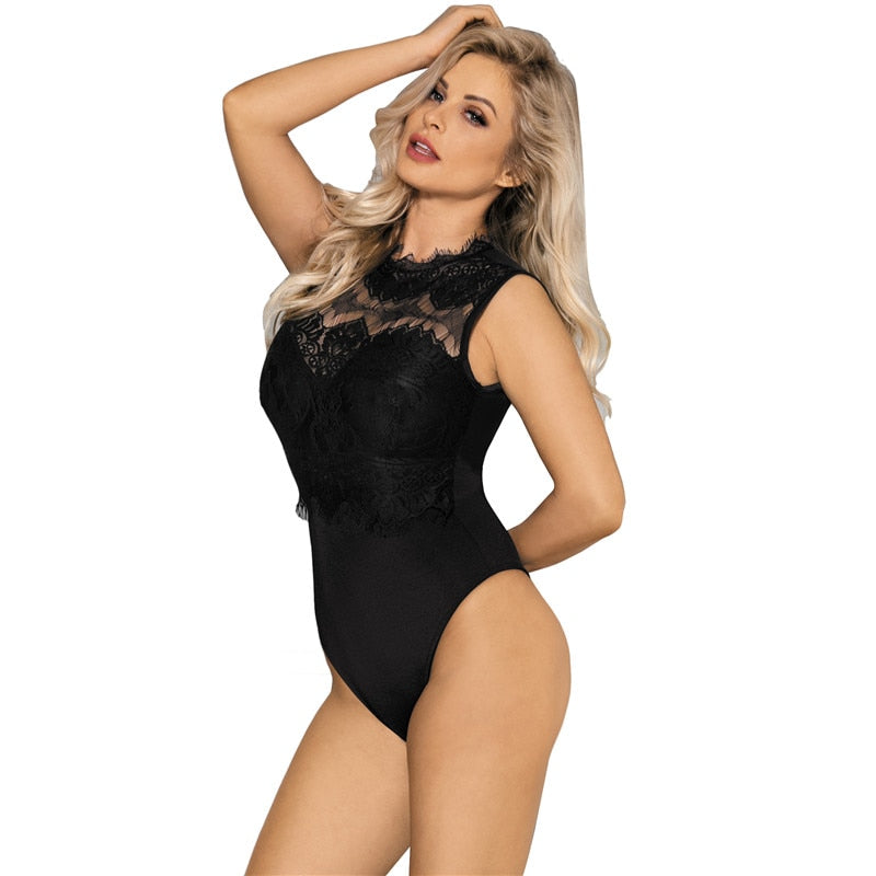 Lace High Neck Cut Out Back Fitted Bodycon Jumpsuit - Own Pleasures